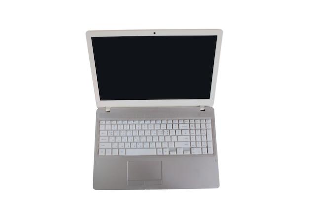 Laptop-computer mit leerem schwarzem bildschirm auf weißem hintergrund