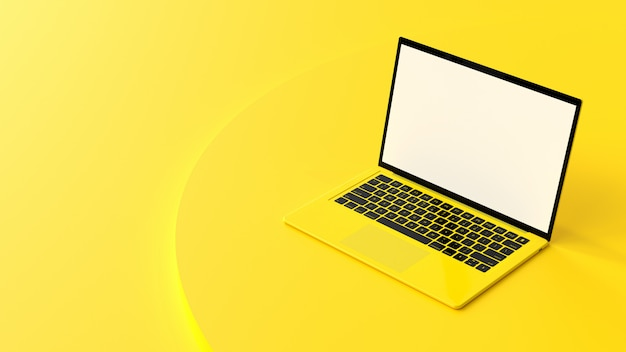 Laptop gelbe farbe leeren bildschirm auf arbeit dask tabelle.