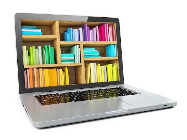 Laptop in form eines bücherregals isoliert auf weißem hintergrund