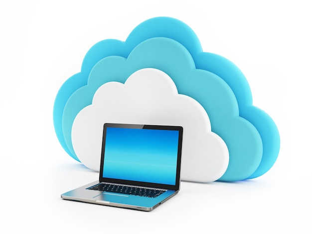 Laptop mit cloud-darstellung auf weißem hintergrund verbunden