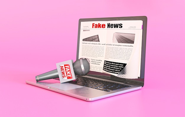 Laptop mit gefälschter nachrichten-webseite und mikrofon