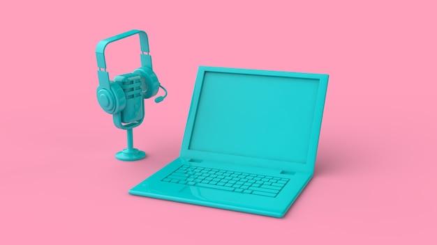 Laptop mit headset und mikrofon