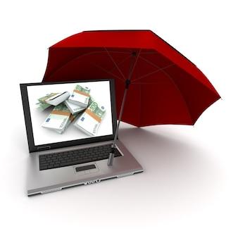 Laptop mit hundert euro-scheinen auf dem bildschirm, geschützt durch einen regenschirm