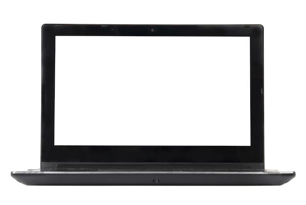 Laptop mit leerem bildschirm lokalisiert auf weiß. vorderansicht.