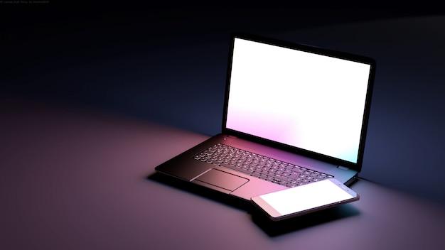 Laptop mit leerem bildschirm und smartphone.