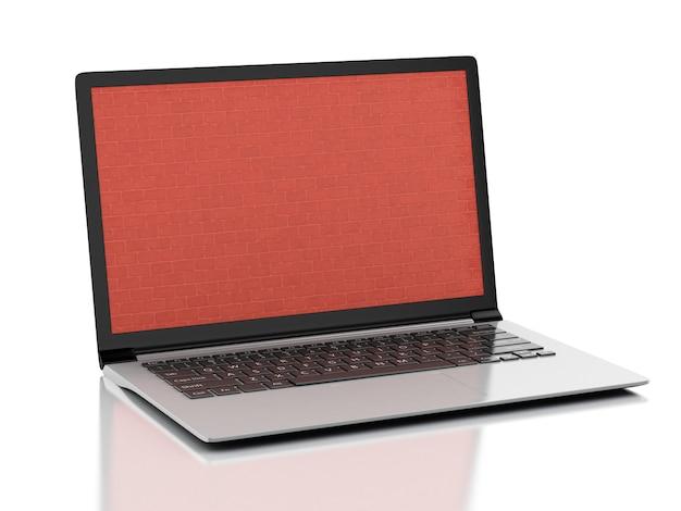 Laptop mit mauer bildschirm. firewall-konzept getrennter weißer hintergrund. 3d darstellung