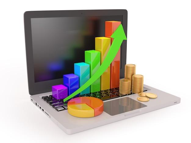 Laptop mit mehrfarbigem diagramm