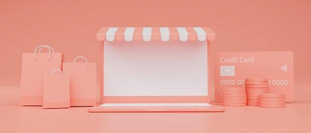 Laptop mit mockup-bildschirmmarkise und einkaufspaket auf rosa hintergrund online-shopping-konzept