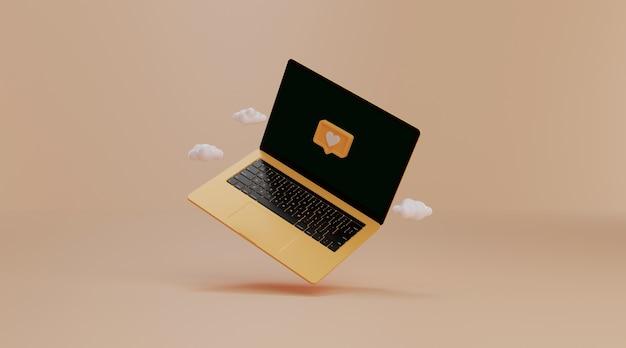 Laptop mit social media benachrichtigung.