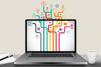 Laptop mit verschiedenen Anwendungen installiert