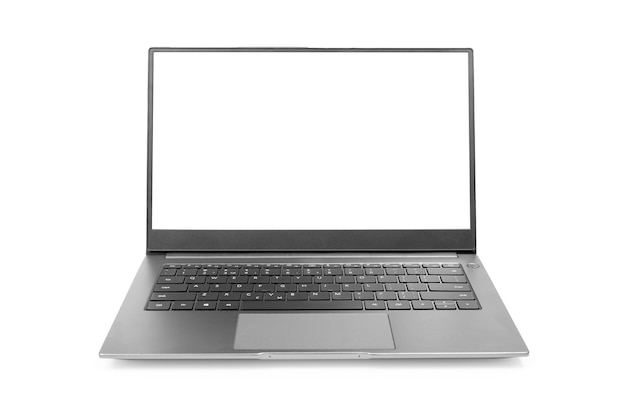 Laptop-modell mit weißem bildschirm isoliert auf weißem hintergrund moderner laptop isoliert