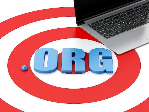 Laptop pc 3d und wort org auf ziel