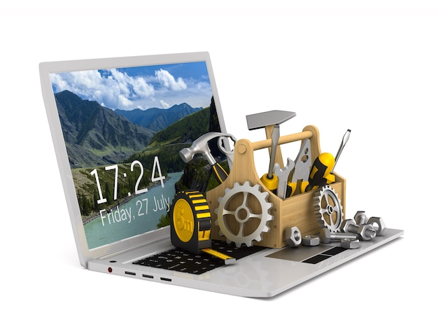 Laptop-service auf weiß. isolierte 3d-illustration