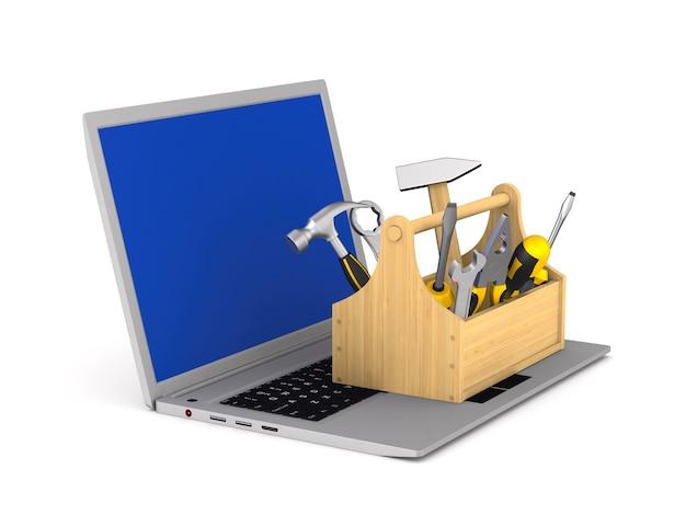 Laptop-service auf weißem hintergrund. isolierte 3d-illustration