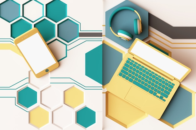 Laptop, smartphone und kopfhörer mit abstrakter zusammensetzung des technologiekonzepts der geometrischen formenplattformen in der gelben und grünen farbe. 3d-rendering
