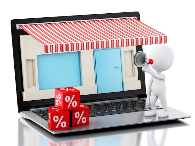 Laptop-speicher 3d, e-commerce.