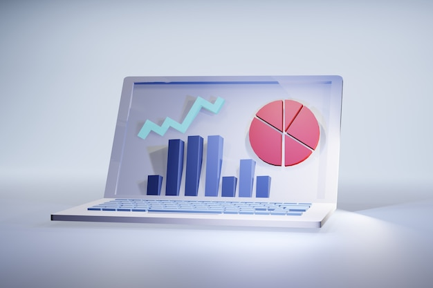 Laptop-statistik 3d-illustration: bildschirm mit grafiken für finanz- oder marketingergebnisse