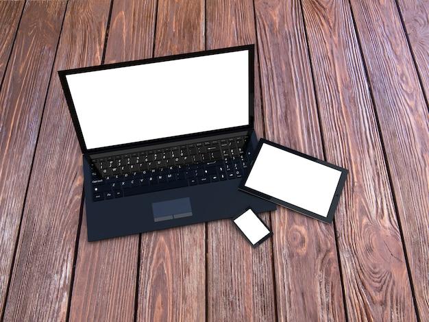 Laptop, tablet und smartphone auf holztisch