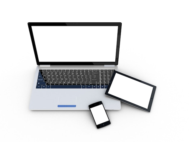 Laptop, tablet und smartphone auf weiß