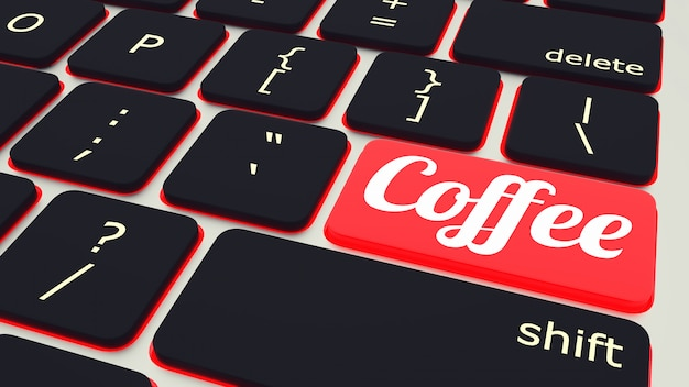 Laptop-tastatur mit rotem kaffeepauseknopf, arbeitskonzept. 3d-rendering