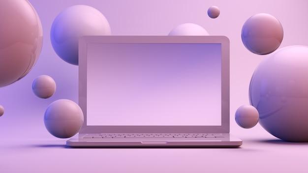 Laptop umgeben von kugeln auf lila hintergrund