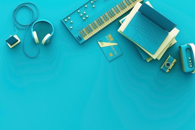 Laptop-umgebung durch bunte gadgets auf grünem hintergrund. 3d-rendering