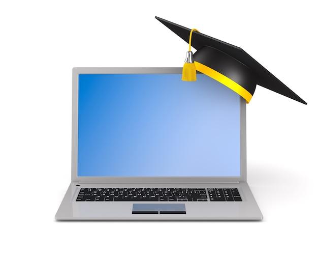 Laptop und abschlusskappe auf weißem hintergrund. isolierte 3d-illustration