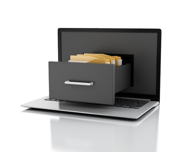 Laptop und aktenschrank mit ordnern. datenspeicherungskonzept. 3d darstellung.