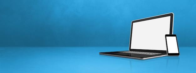 Laptop und handy auf blauem schreibtischbanner. 3d-illustration