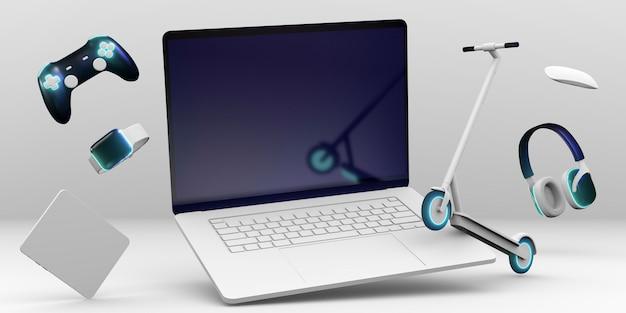 Laptop und roller für cyber montag