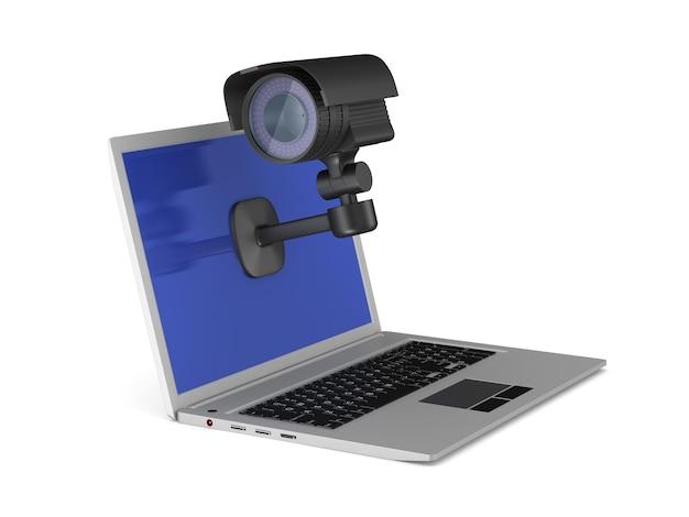 Laptop und überwachungskamera. isoliertes 3d-rendering