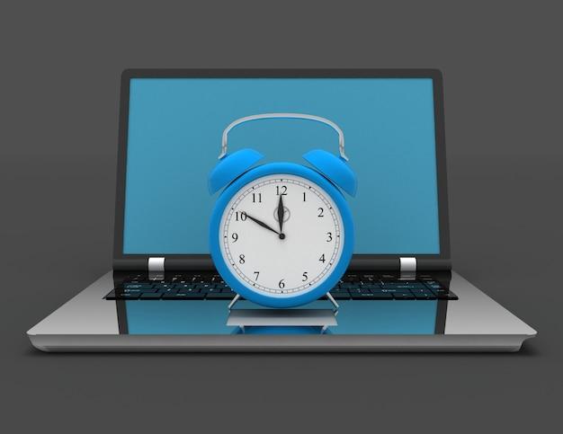 Laptop und uhr. 3d-darstellung auf schwarz