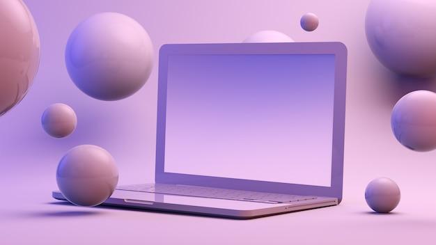 Laptop von kugeln umgeben