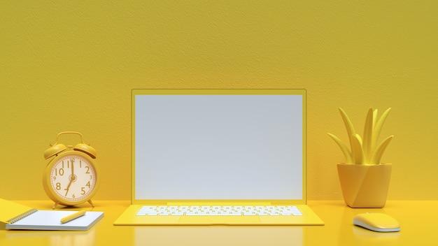 Laptophintergrund auf gelber farbe des arbeitsschreibens und modell für ihren text mit notizbuch