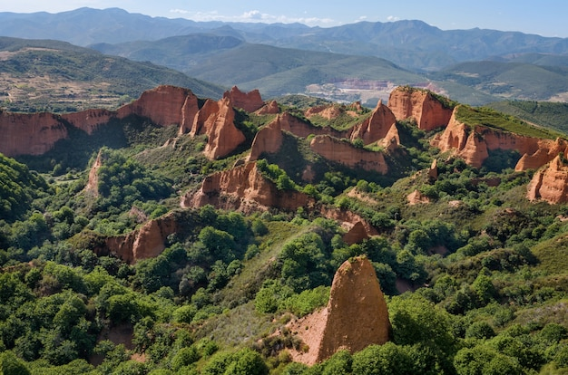 Las medulas landschaft. alte römische goldminen in leon, spanien.
