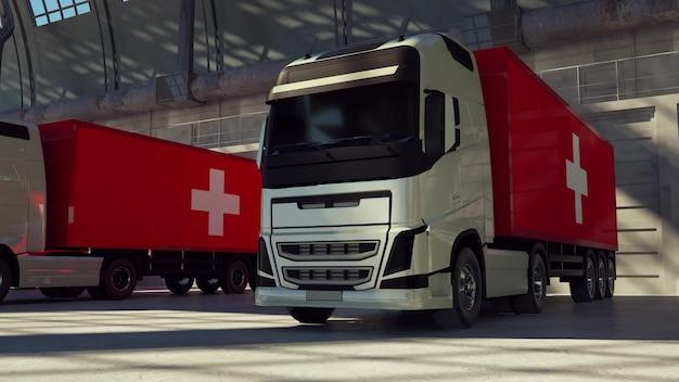 Lastkraftwagen mit schweiz-flagge. lkws aus der schweiz beim be- oder entladen am lagerdock. 3d-rendering