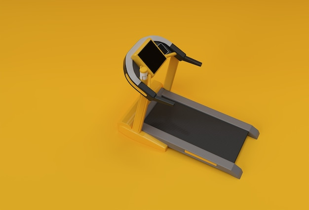 Laufband oder laufband der wiedergabe 3d auf gelbem hintergrund