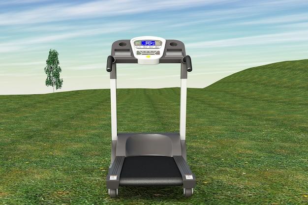 Laufbandmaschine über gras auf einem himmelshintergrund