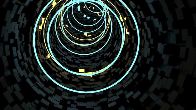 Laufen in kreis-licht-tunnelhintergrund in der retro- und sciencefiction-partyszene.