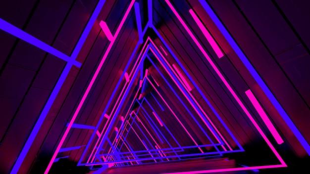 Laufen in neonlicht-dreieck-tunnel-tapete in der retro- und modepartyszene.