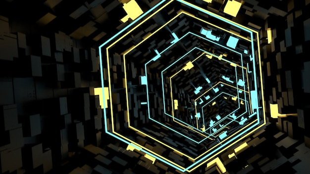 Laufen in neonlicht-tunnelhintergrund in der retro- und sciencefiction-partyszene.