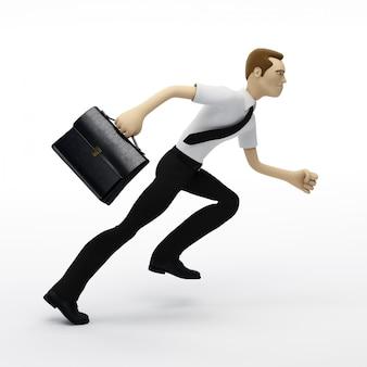 Laufender geschäftsmann mit einer aktentasche