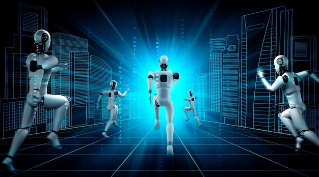 Laufender roboter-humanoid, der schnelle bewegung und lebensenergie zeigt