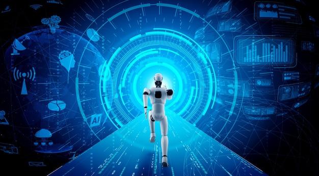 Laufender roboter-humanoid mit schneller bewegung und lebensenergie