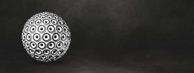Lautsprecherkugel isoliert auf einem schwarzen studiobanner. 3d-illustration