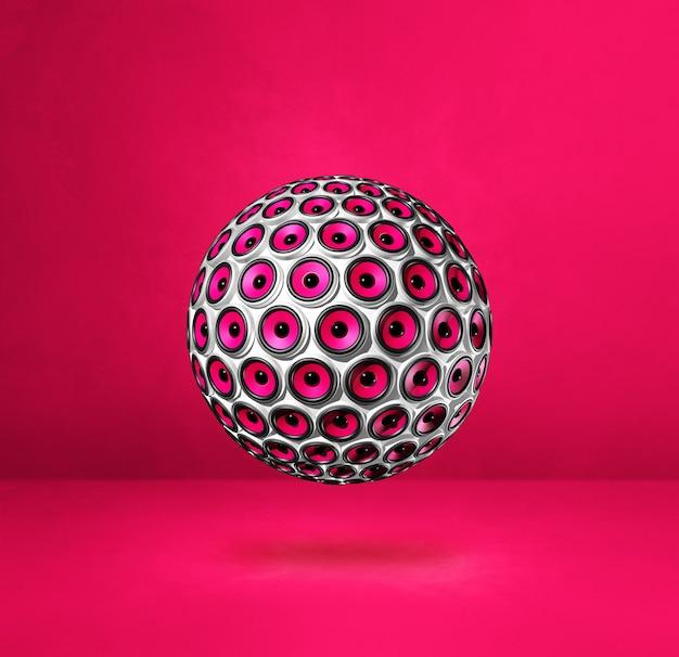 Lautsprecherkugel lokalisiert auf einem rosa studiahintergrund.
