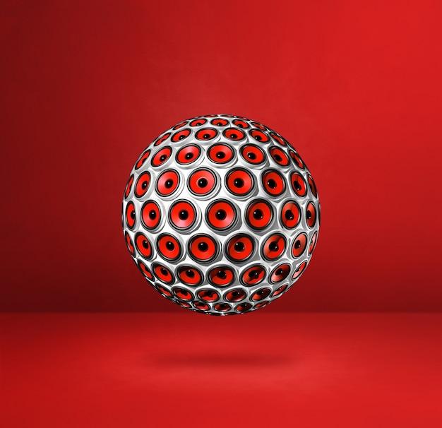 Lautsprecherkugel lokalisiert auf einem roten studiahintergrund. 3d-illustration