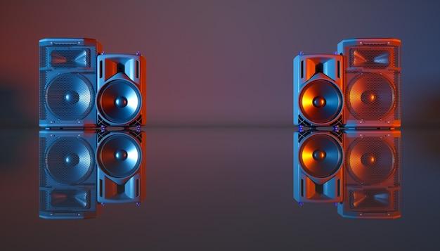 Lautsprechersystem auf einem schwarzen hintergrund in der blauen und orange beleuchtung, 3d illustration