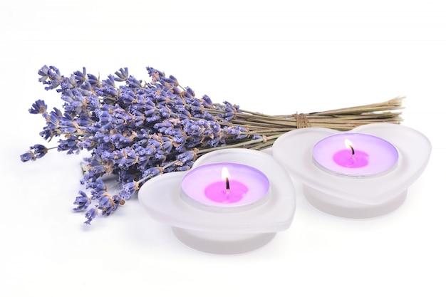 Lavendel und kerzen