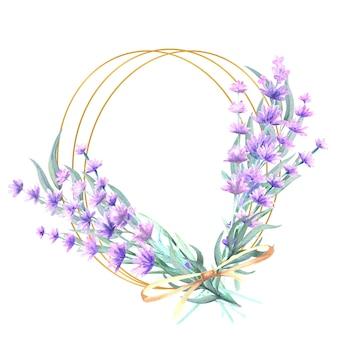 Lavendelblüten in einem runden goldrahmen
